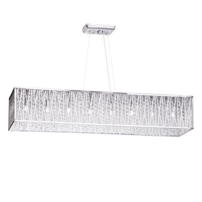 Litecraft Seattle 8 Bulb Trestle Frame Flush Ceiling Light with Crystal Droplets, Chrome
