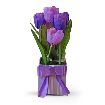 Homescapes Purple Tulips Artificial Flower Arrangement in Cardboard Box