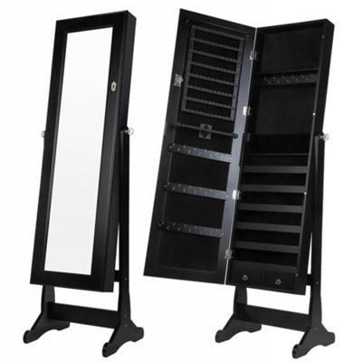 Homegear Modern Free Standing Jewellery Cabinet / Full Length Bedroom Black