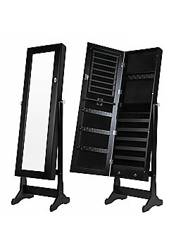 Homegear Modern Free Standing Jewellery Cabinet / Full Length Bedroom Black