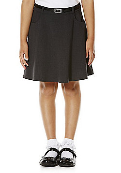F&F School Girls Flared Soft Touch Premium Skirt with Belt - Grey