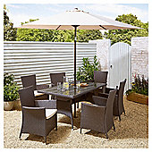 Tesco Corsica 8 Piece Rattan Rectangle Garden Dining Set