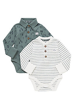 F&F 2 Pack of Woodland Print and Striped Long Sleeve Bodies - Green & White