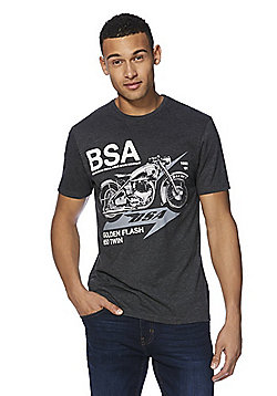 BSA Golden Flash Motorcycle Graphic T-Shirt - Charcoal