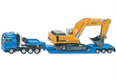 Heavy Haulage Transporter With Flat-Bed Trailer 1:87 Scale - Siku