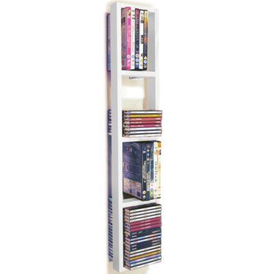 Wall Mounted Cd / Dvd / Blu Ray Storage Shelf - White