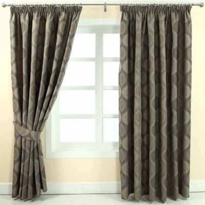 Homescapes Grey Jacquard Curtain Modern Curve Design Fully Lined - 66