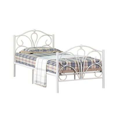 Comfy Living 3ft Single Scroll Detailed Metal Bed Frame in Ivory with Basic Budget Mattress