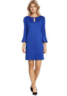 Wallis Petite Flute Sleeve Ponte Dress 10 Blue
