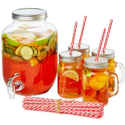 Andrew James Vintage Drinks Serving Set - Country Style 4L Jar with 4 Drinking Jars