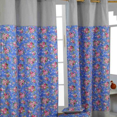 Homescapes Blue Roses Ready Made Eyelet Curtain Pair, 117 x 137 cm Drop