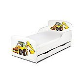 PriceRightHome Diggers Toddler Bed With Storage & Fully Sprung Mattress