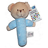First Steps Teddy Bear With Rattle Blue