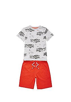 F&F Crocodile T-Shirt and Shorts Set - Grey
