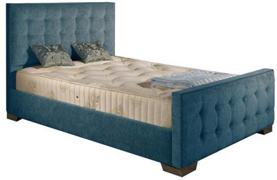 ValuFurniture Delaware Chenille Fabric Divan Bed Set - Teal - Single - 3ft