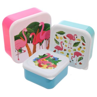 Set Of 3 Lunch Boxes - Flamingo Design