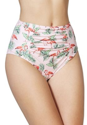 F&F Flamingo Print High Waisted Ruched Bikini Briefs Pink 12