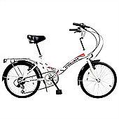 """Stowabike 20"""" Folding City V2 Compact Foldable Bike - 6 Speed Shimano Gears White"""