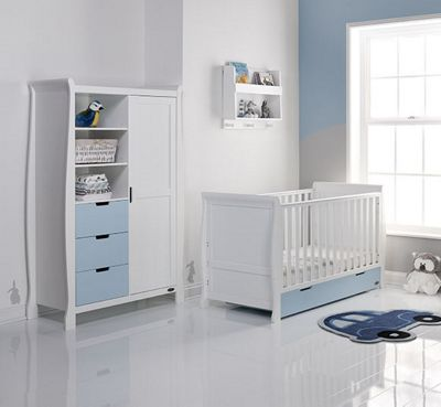 Obaby Stamford 2 Piece Cot Bed/Wardrobe Nursery Room Set - White with Bonbon Blue