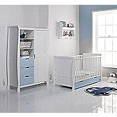 Obaby Stamford 2 Piece Cot Bed/Wardrobe Nursery Room Set - White with Bonbon Blue