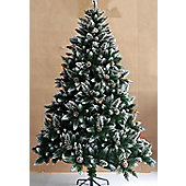 7ft Bavaria Snow Flocked with Pine Cones Christmas Tree