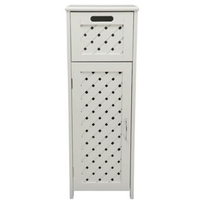 Sheringham Bathroom Storage Unit - Single Door & Drawer, White Wood