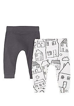 F&F 2 Pack of House Print and Plain Joggers - Grey