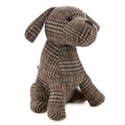 Nicola Spring Milo the Dog Door Stop in Fabric - Vintage Decorative Doorstop for Home / Office