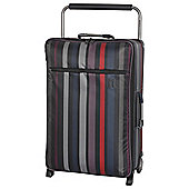 IT Luggage World's Lightest 2 wheel Medium Black Violet Stripe Suitcase