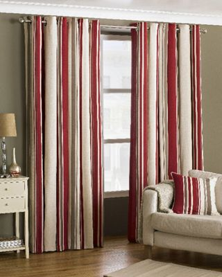 Broadway Raspberry Eyelet Curtains, 66x72