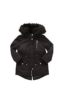 F&F Shower Resistant Faux Fur Trim Parka - Black