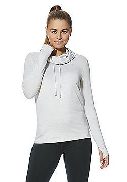 F&F Active Soft Touch Drawstring Neck Sweatshirt - Light grey