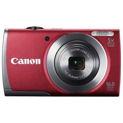 Canon A3500 Digital Camera, Red, 16MP, 5x Optical Zoom, 3