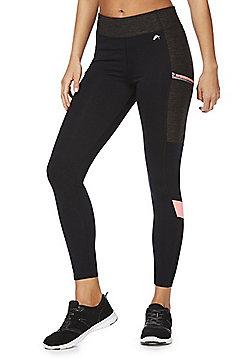 F&F Active Colour Block Zip Pocket Leggings - Multi