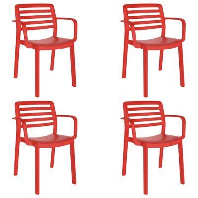 Resol Wind Designer Plastic Home Garden Dining Armchair - Red - Pack of 4