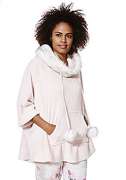 F&F Faux Fur Trim Fleece Lounge Poncho - Pink