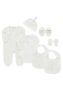 Babaluno Giraffe and Elephant 7 Piece Baby Gift Set - Cream