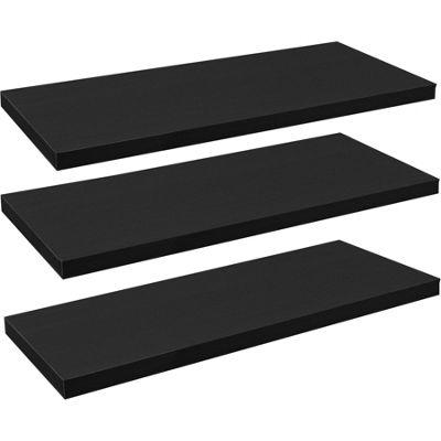 Harbour Housewares Pack of 3 Floating Wooden Wall Shelves 120cm - Black