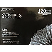 120 LED Twinkle Mains Christmas Fairy Lights - Cool White With White Cable