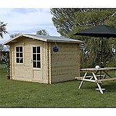 3m x 2.4m (10ft x 8ft) Sutton Apex Log Cabin (Single Glazing) 44mm Garden Cabin - Fast Delivery - Pick A Day