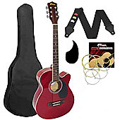 Tiger Acoustic Guitar Pack for Students - Red