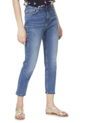 F&F Slim Leg High Rise Ankle Grazer Jeans Mid Wash 16 Regular leg