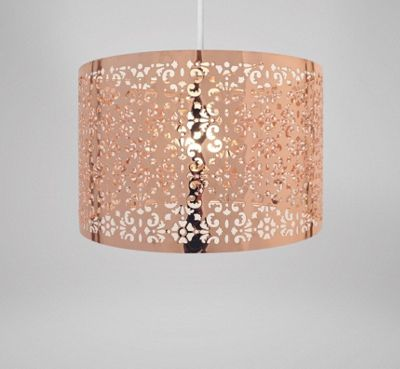 Country Club Easy Fit 29cm Moroccan Ceiling Light Shade Copper