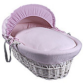 Clair de Lune Pink Cotton Candy Wicker Moses Basket, White