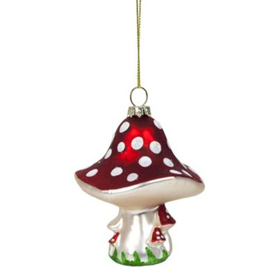 Red Hanging Glass Mushroom Christmas Bauble Tree Decoration