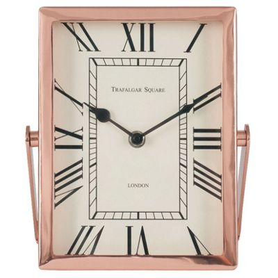 Shiny Copper Steel & Glass Oblong Desk Clock