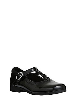 F&F Scuff Resistant Patent T-Bar School Shoes - Black