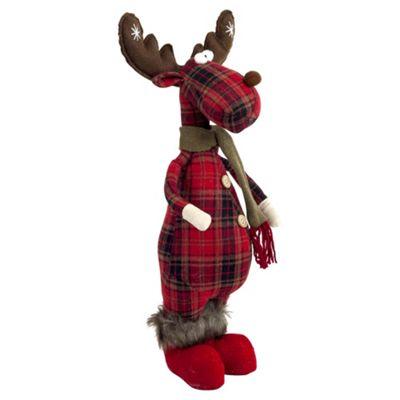 50cm Standing Christmas Tartan Fabric Reindeer Ornament
