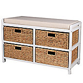 Canterbury - Double Storage Bench With Baskets - White / Brown