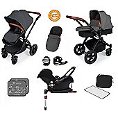 Ickle Bubba Stomp V3 AIO Travel System/Isofix Base/Buggy Lights Red (Black Chassis)